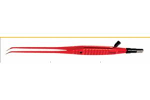 Биполярный пинцет NON-STICK с каналом прямой 200мм, изогнутый конец 1мм